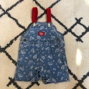 Vintage boys OshKosh boat print jean overalls